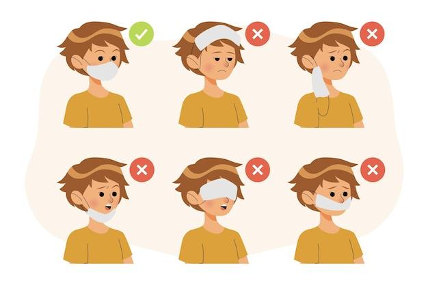 Comment Porter Un Masque Facial Bien Et Mal Vecteur Premium