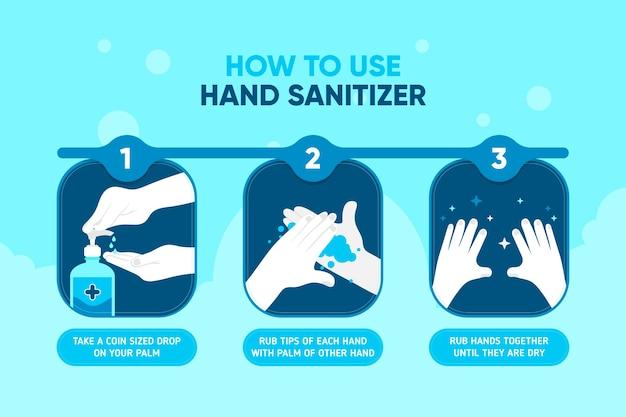 Comment Utiliser L'infographie Du Désinfectant Pour Les Mains Illustrée Vecteur gratuit