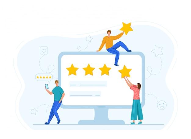 Commentaires Des Clients Ou Concept De Révision, évaluation Des Services En Ligne, Clients Satisfaits Vecteur Premium