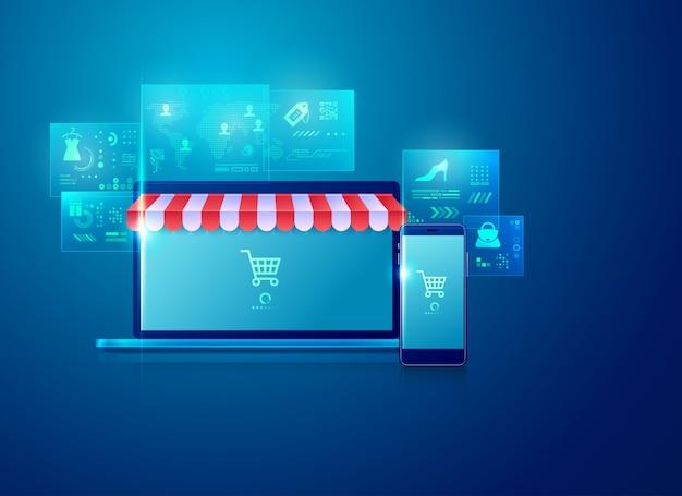 Commerce électronique Et Achats En Ligne Vecteur Premium