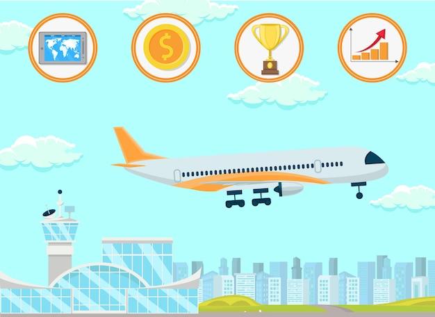 Commerce international. illustration de plat vector. Vecteur Premium