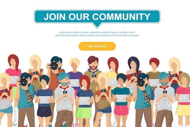 Communauté des jeunes adolescents Vecteur Premium