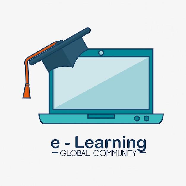 Communauté Mondiale E-learning Vecteur gratuit
