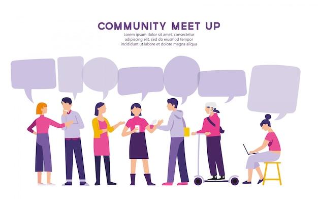 La communauté se réunit pour un problème de partage Vecteur Premium