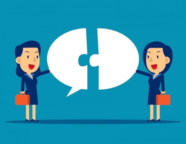 Communication d'entreprise avec bulle Vecteur Premium