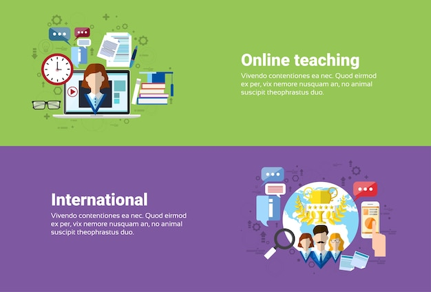 Communication internationale de connexion internet de réseau social de médias, enseignement en ligne d'éducation de web Vecteur Premium