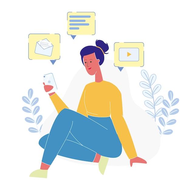 Communication en ligne pour adolescents Vecteur Premium