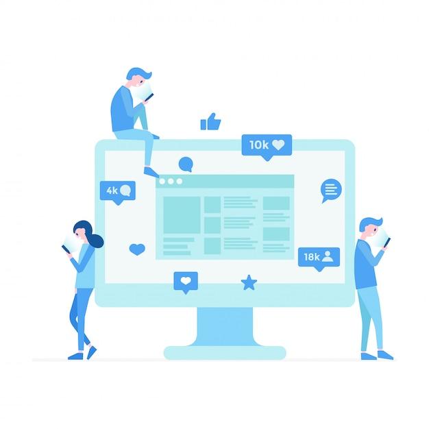 Communication moderne sur les réseaux sociaux Vecteur Premium