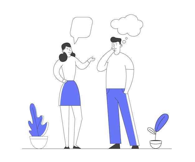 Communication De Personnages Masculins Et Féminins Avec Des Bulles De Dialogue. Vecteur Premium
