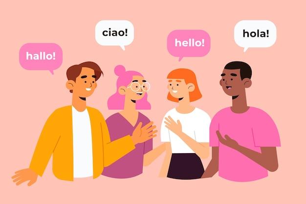 Communication En Plusieurs Langues Vecteur gratuit