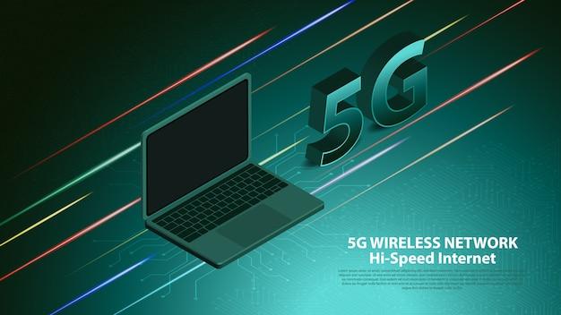 Communication de technologie de réseau sans fil 5g Vecteur Premium