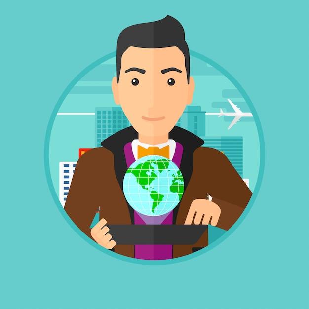 Communication Technologique Internationale. Vecteur Premium