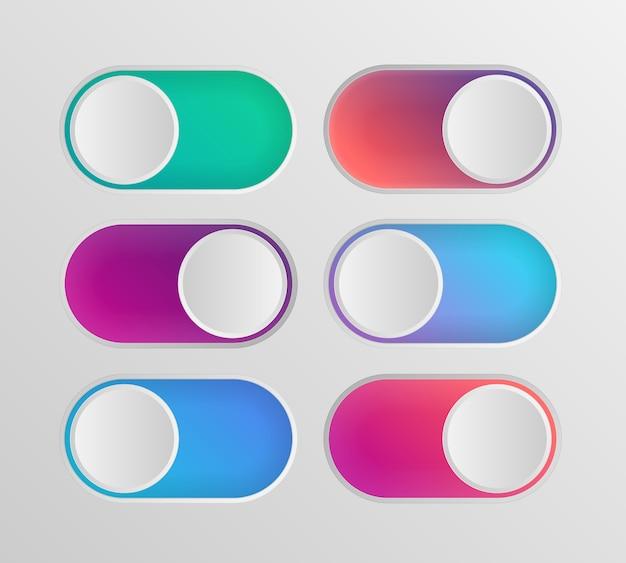 Commutateurs colorés icône plate sur off isolé sur fond blanc Vecteur Premium