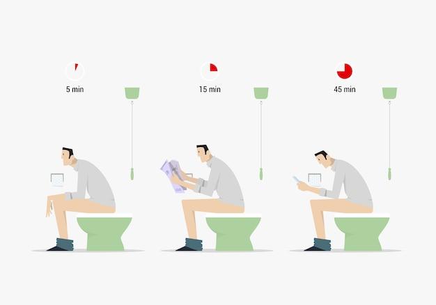 Comparaison Du Temps De Merde. Vue Latérale De L'homme De Dessin Animé Assis Sur Les Toilettes Dans Trois Situations Différentes. Vecteur Premium