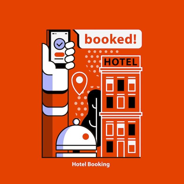 Comparez Les Prix Des Hôtels Dans Le Monde Entier. Réservation D'hotel. Vecteur Premium