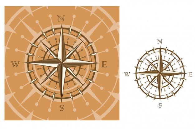 Compas médiéval isolé sur fond blanc pour la conception de voyage Vecteur Premium