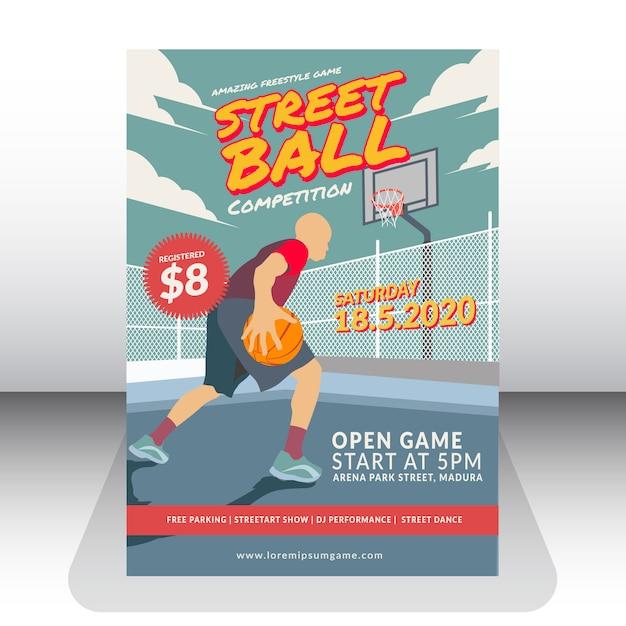 Compétition de street ball Vecteur Premium