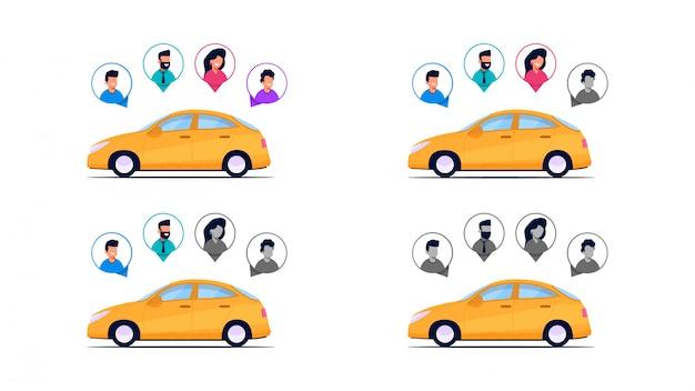 Completeness car passengers. Vecteur Premium