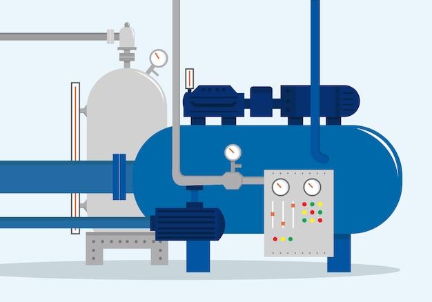 Complexe de stockage de cargaison, conteneur pour l'eau, le gaz, les produits chimiques et le pétrole. illustration vectorielle, style plat Vecteur Premium