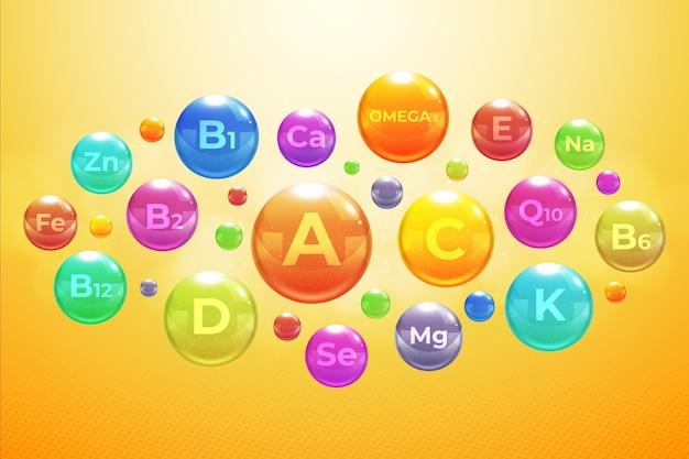 Complexe De Vitamines Et Minéraux Essentiels Vecteur gratuit