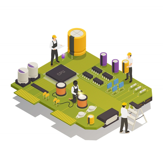 Composants électroniques à Semi-conducteurs Composition Isométrique Vecteur gratuit