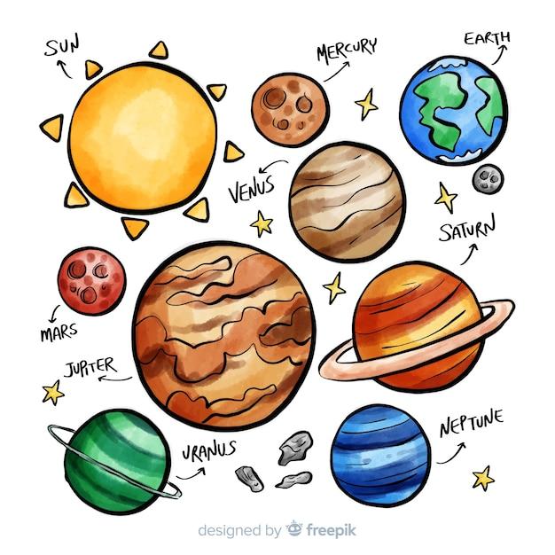 Compositio de système solaire dessiné à la main classique Vecteur gratuit