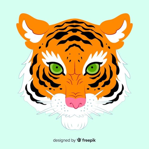 Compositio visage de tigre classique Vecteur gratuit