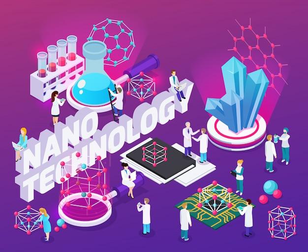 Composition Abstraite Isométrique De Nanotechnologie Avec Des Puces Micro Structure De Fullerène Nanocubes De Carbone Cristallin Icônes Vecteur gratuit