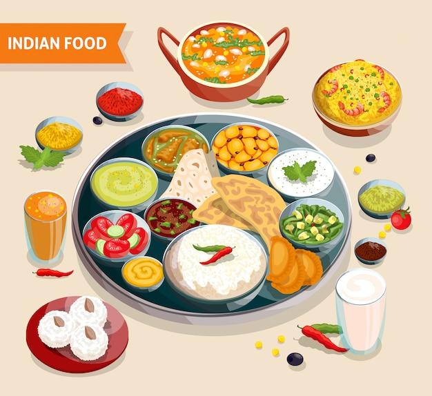 Composition des aliments indiens Vecteur gratuit
