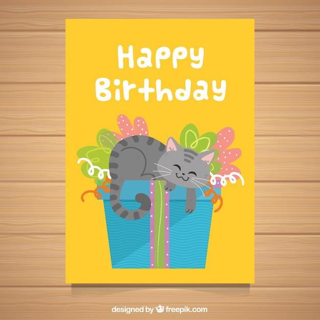 Composition d'anniversaire avec chat smiley Vecteur gratuit