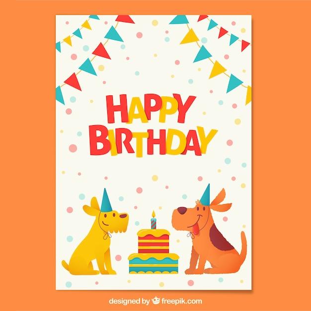 Composition d'anniversaire avec des chiens heureux Vecteur gratuit