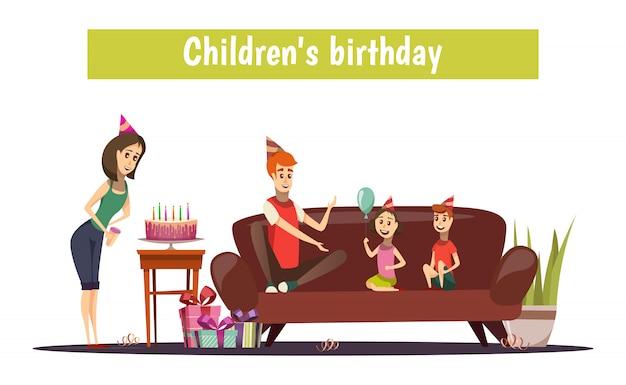 Composition anniversaire enfants Vecteur gratuit