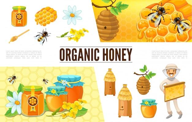 Composition Apicole De Dessin Animé Avec Ruche Apiculteur Abeilles Fleur De Camomille Nids D'abeilles Bâton Pots Et Banques De Miel Vecteur gratuit