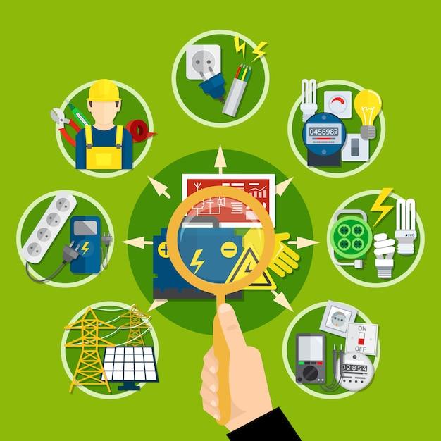 Composition des appareils et technologies électriques Vecteur gratuit