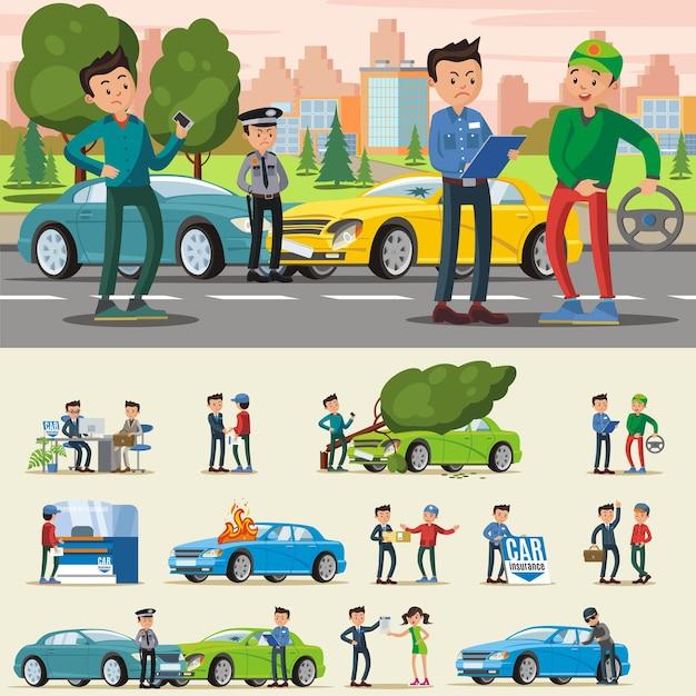 Composition D'assurance Automobile Vecteur gratuit
