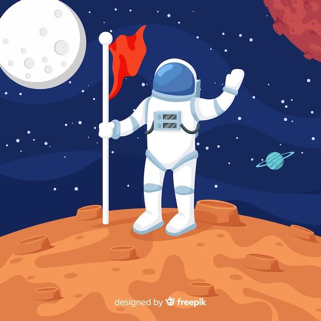 Composition d'astronaute colorée avec un design plat Vecteur gratuit
