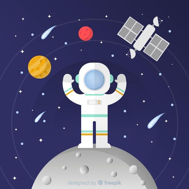Composition d'astronaute moderne au design plat Vecteur gratuit