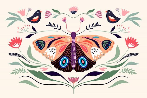 Composition De Bannière Affiche Décorative Avec Des éléments Floraux, Papillon, Différentes Fleurs Et Plantes Vecteur Premium