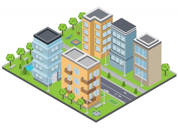 Composition Des Bâtiments De Banlieue Avec Pelouse Appartements Et Rues Isométrique Vecteur gratuit