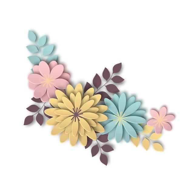 Composition de belles fleurs dans le style de l'art du papier Vecteur Premium