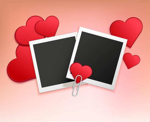 Composition de cadre photo d'amour Vecteur gratuit