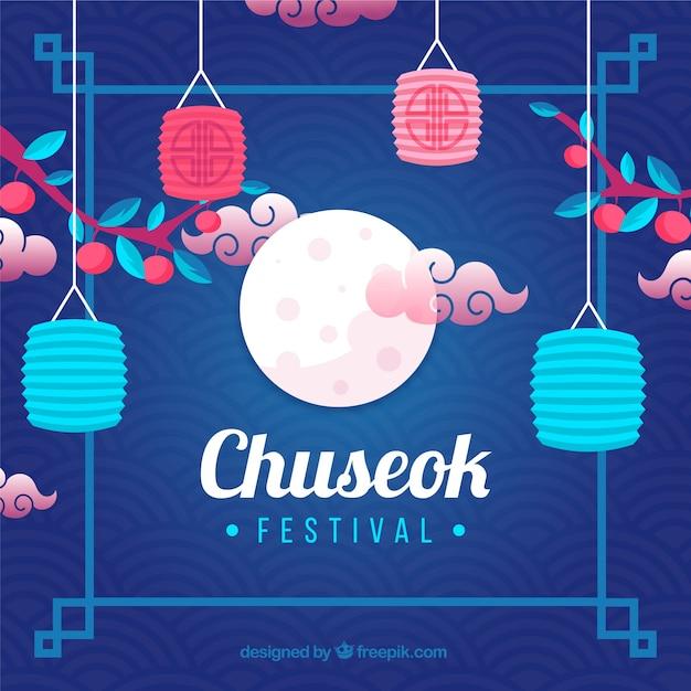 Composition Chuseok Traditionnelle Avec Un Design Plat Vecteur gratuit