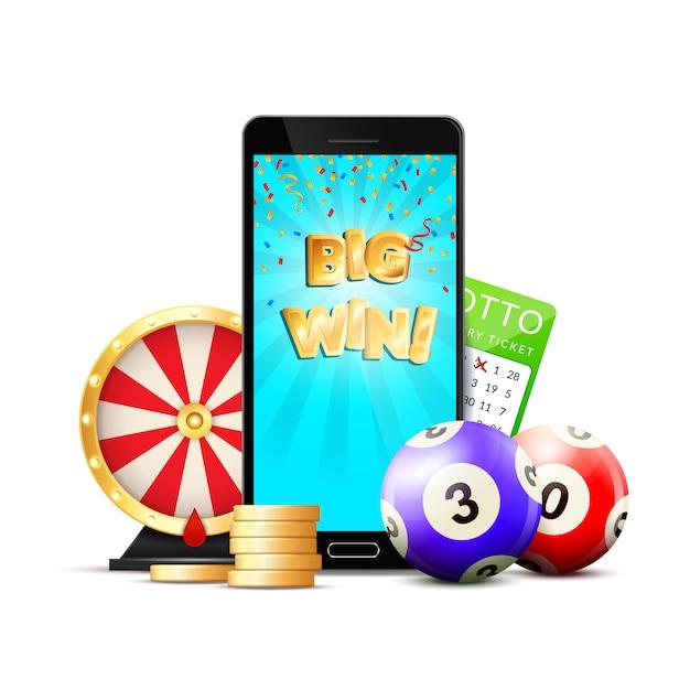 Composition Colorée De Casino En Ligne De Loterie Vecteur gratuit