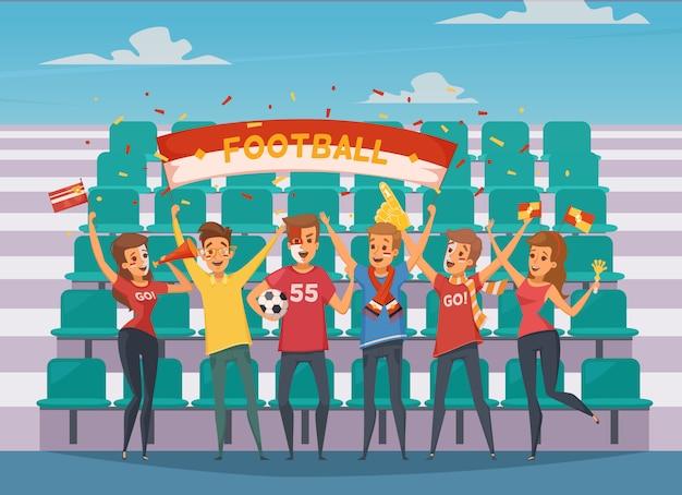 Composition colorée de fan de rooter avec des personnes qui se tiennent devant les gradins du terrain de football Vecteur gratuit