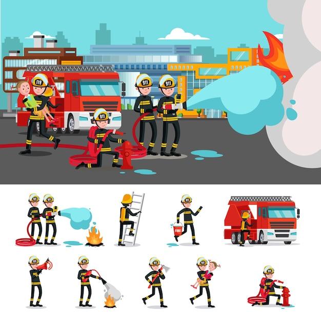 Composition Colorée De Lutte Contre Les Incendies Vecteur gratuit