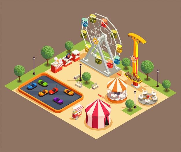 Composition Colorée De Parc D'attractions Avec Cirque Et Diverses Attractions Isométrique 3d Vecteur gratuit