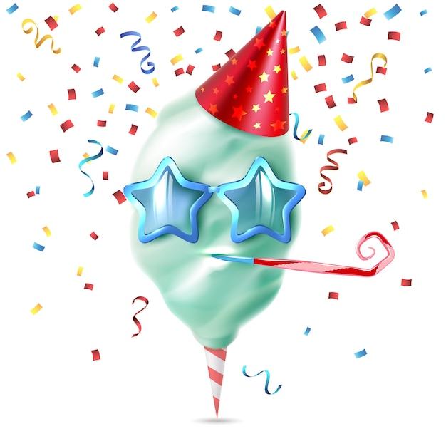 Composition Colorée Réaliste De Coton De Sucre Candi Avec Des Morceaux De Confettis Festifs Et Un Chapeau D'anniversaire Sur Une Illustration Vectorielle Vierge Vecteur gratuit