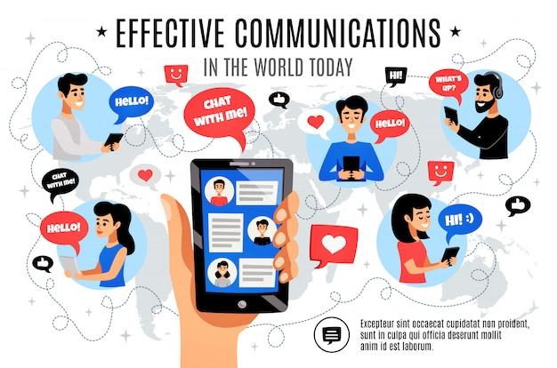 Composition De Communication électronique Interactive Dynamique Vecteur gratuit