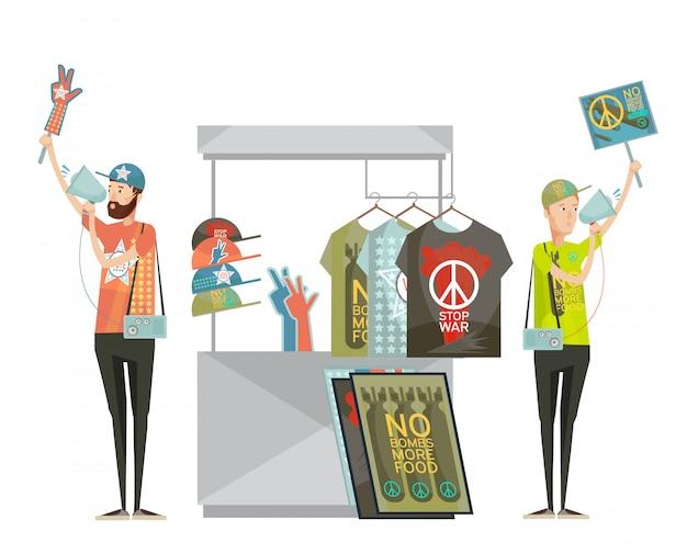 Composition de conception de propagande anti-guerre avec deux jeunes hommes faisant de la publicité pour des chemises sans dessin de symboles de guerre Vecteur gratuit
