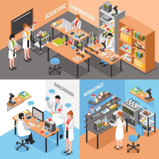 Composition conceptuelle du laboratoire scientifique Vecteur gratuit